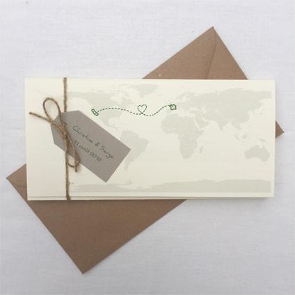 mariage voyage carte du monde kraft