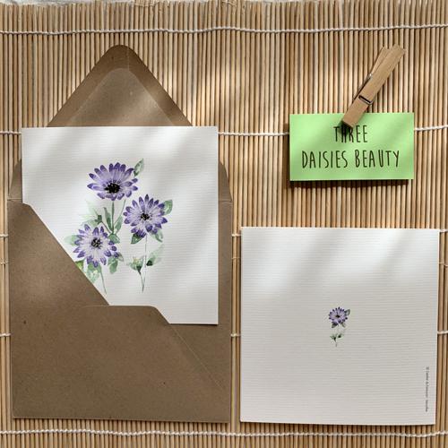 Aquarelle fleurs violettes, marguerites